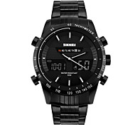 Men's Dual Time Display Analog-Digital Black Stainless Steel Sports Watch