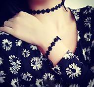 Graceful Vintage Gothic Style Exquisite Black Lace Flower Choker Necklace