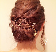 Women Fashion Simple Metal Hollow Stars Pattern Tassels Hairpin Hair Accessories Jewelry 1pc