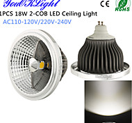18W Luces Empotradas Descendentes 2 COB 1500 lm Blanco Natural Decorativa AC 100-240 / AC 110-130 V 1 pieza
