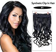 schwarzen lockigen Clip in Haarverlängerung 001