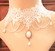 Graceful Vintage Gothic Style Exquisite Lace Beads Pendent Necklace