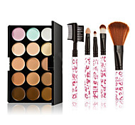 Makeup Brush Set 15 Color Concealer+5pcs Leopard Grain Pink Makeup Brush