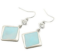 Simple And Refreshing Sky Blue Square Fashion Flash Diamond Earrings