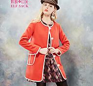 ELFSACK Women's Round Neck Long Sleeve Wool & Blends Orange - 1432079