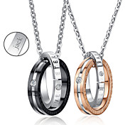 Personalized Jewelry Valentine's Day Gift Lovers' Titanium Steel Gold/Black Necklace (One Pair)
