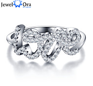 """Anniversary Accessories Letter """"LOVE"""" 925 Sterling Silver Cubic Zirconia Rings For Women&Lady"""