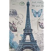 torre parís coloreado dibujo o patrón de cuero de la PU caso folio funda tablet foripad Mini 4