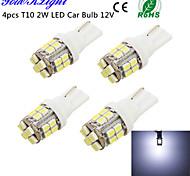 YouOKLight® 4PCS T10 2W 200lm 24-SMD1206  6000K  White LED Car Bulb Light(DC12V)
