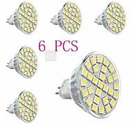 tiger Lâmpadas de Foco de LED Decorativa GU5.3(MR16) 440lm LM 3000-3500K K Branco Quente 29 SMD 5050 6 pçs AC 220-240 V MR16