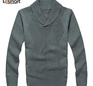Lesmart Hommes Col Arrondi Manche Longues Pull & Cardigan Gris - CW13560