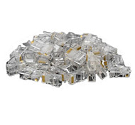 RJ45 8pin ABS Modular Plug Connector Transparent 50 PCS