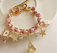 Fashion Jewelry Geometric Popular Rhinestone Star Tower Bracelet