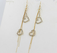 New Arrival Fashional Rhinestone Heart Tassel Earrings