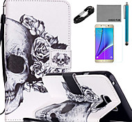 COCO FUN® Flower skeleton Pattern PU Leather Case with V8 USB Cable, Flim and Stylus for Samsung Galaxy Note 5