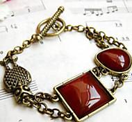 Fashion Jewelry Retro Geometric Owl Gem Bracelet