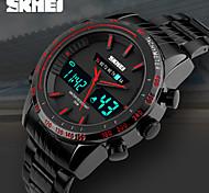 Men's Dual Time Display Analog-Digital Black Stainless Steel Sports Watch