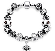 Women Strand Beads BraceletsBeads Bracelet 925 Silver Crystal Bead Charm Bracelet Fit Original glass Bracelet PH008