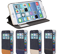 Denim Purse Luxury Leather Case With Screen Protector for iPhone 6/6S