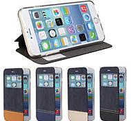 caso de cuero de lujo bolso de mezclilla con protector de pantalla para el iphone 6 / 6s