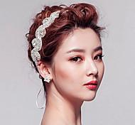Elegant Crystal Rhinestone Ribbon Headband for Wedding Party Hair Jewelry