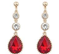 Fashion Temperament Long Section Of Diamond Ruby Jewelry Drop Earrings
