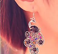 Orecchini a goccia Pietre preziose imitazione diamante Lega Pavone Schermo a colori Gioielli 2 pezzi