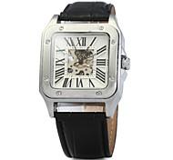Automatic Mechanical Hollow-out Watch with Leather Band for Men Wrist Watch Cool Watch Unique Watch