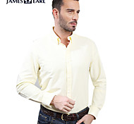 JamesEarl Men's Shirt Collar Long Sleeve Shirt & Blouse Yellow - M81XF000709