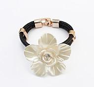 Europe Elegant Flower Leather / Rhinestone Bracelet Leather Bracelets