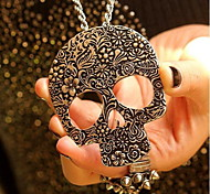 The Silver Hollow Skull Sweater Chain