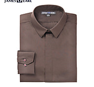 JamesEarl Men's Shirt Collar Long Sleeve Shirt & Blouse Brown - DA112045456