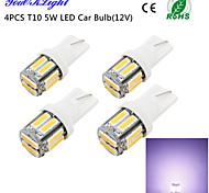 youoklight® 4pcs t10 5w 400lm 10 smd7020 6000k luce bianca ha condotto la luce della lampadina dell'automobile (12v)