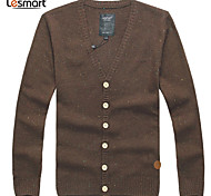 Lesmart Hommes Col en V Manche Longues Pull & Cardigan Vert / Marron - CX13134