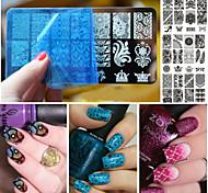 Лак для ногтей искусство кружева скребок штамповки пластины изображения маникюрный набор инструмента трафарета