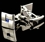 Fashion Copper Men Gift Jewelry Silver Square Blue Crystal Cz Cufflinks(1Pair)