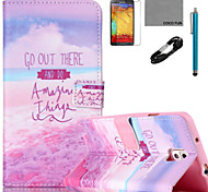 COCO FUN® Purple Seaside Pattern PU Leather Case with V8 USB Cable Flim and Stylus for Samsung Galaxy Note 3/Note 4