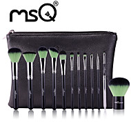 MSQ New 12pcs Makeup Brushes Set Alminium Ferrule Cosmetic Tool MAC Makeup Style High Quality Synthetic Hair With PU Leather Case(Green)