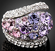 Ring Fashion Party Jewelry Rhinestone / Platinum Plated Women Statement Rings 1pc,One Size Blue / Purple