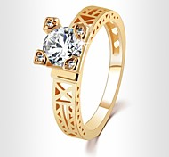 European Fashion Personality 14K Gold Plated Alloy Effiel Tower Ring Night Paris Sky Finger Ring