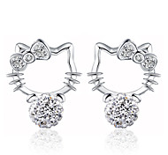 2016 Korean Women 925 Silver Sterling Silver Jewelry Crystal Ball Cat Earrings Stud Earrings 1Pair