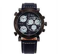 Fire Multi Time Zones Men'S Watch/Three Time Zones Colored Leather Belt Watch