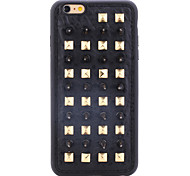 Rivet Leather Series Black-Golden Spikes TPU Soft Back Cover for iPhone 5/5S