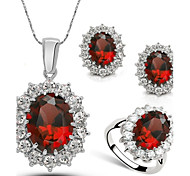 Whole Sale Crystal Jewelry Set Elegant Unique Crystal Design Sample Pendant Necklace Earrings Ring Girlfriend Gift