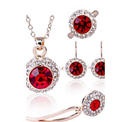 Jewelry Set Shining Crystal Classic Pendant Necklace Earring Ring Bracelet(Assorted Color)