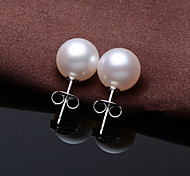 Ms 925 Silver Pearl Earrings