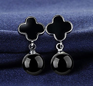 S925 Fine Silver Black Clover Agate Drop Earrings