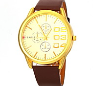 Men's Fashion Dial PU Band Quartz Wristwatch