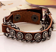 Fashion Antique Round Skull Charms Leather Bracelets