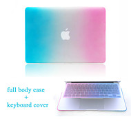 "High Quality Hard Protective Matte Gradient Color Full Body Case + TPU Keyboard Cover for 13.3""/15.3"" MacBook Pro Retina"